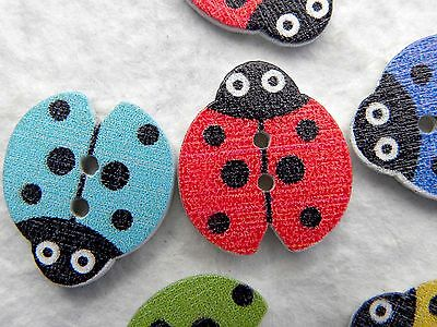 Ladybird Buttons 24 18x16mm Mixed Colour Printed Wooden Buttons Sewing Knitting • 2.99£