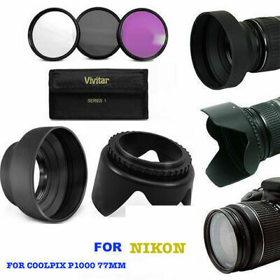 AU41.38 • Buy Lens Hood & 3hd Filters Uv-cpl-fld  Kit For Nikon Coolpix P1000 2-3 Day Delivery