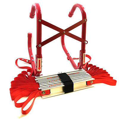 FIRE ESCAPE LADDER Approved To EN131 With STORAGE BAG - 3 STOREY X 7.3 Metres • 57.99£