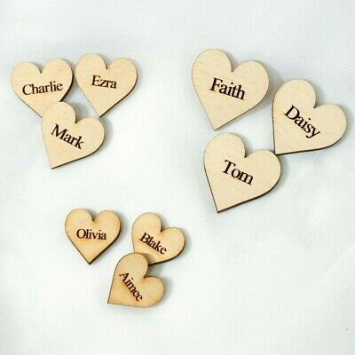 £4.55 • Buy Wooden Personalised Hearts For Family Tree Wedding Guestbook Hearts Family Mini
