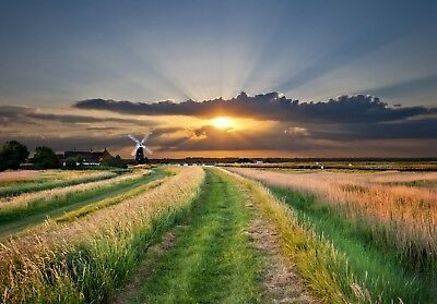 Norfolk Broads Windmill East Anglia Canvas Pictures Super Landscape Modern Print • 11.99£