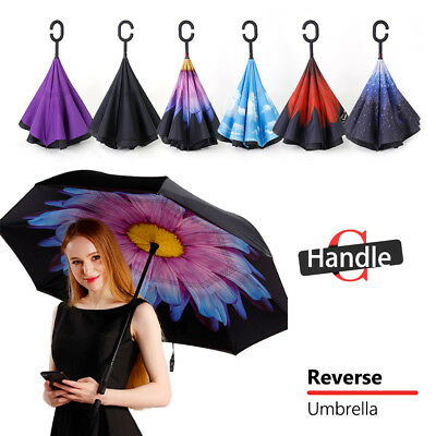 AU16.37 • Buy Windproof Upside Down Reverse Umbrella Double Layer Inside-Out Inverted C-Handle
