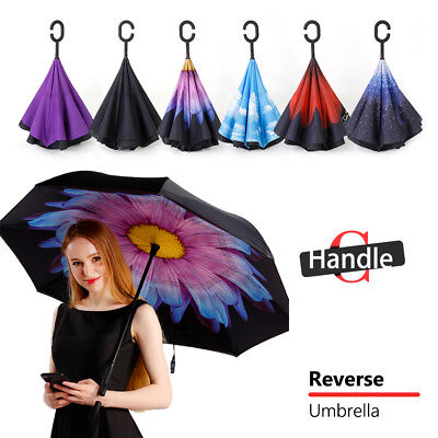 AU14.98 • Buy Windproof Upside Down Reverse Umbrella Double Layer Inside-Out Inverted C-Handle