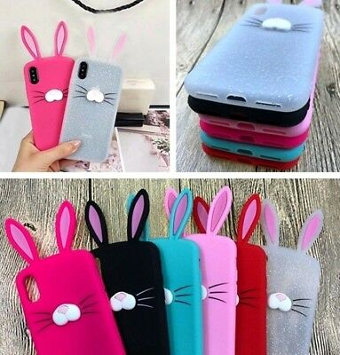 For IPhone X / XS / 10S - Soft Silicone Rubber Case Cover Cute Bunny Rabbit Ears • 5.62£