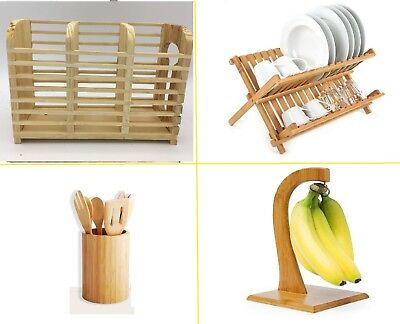 £18.99 • Buy Bamboo Dish Drainer Cutlery Holders Wooden Plates Rack Stand Organizer Kitchen E