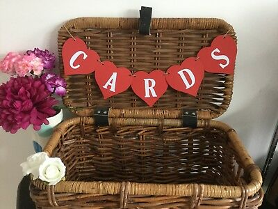 Red & White HEART Cards Banner/Bunting Handmade Wedding Birthday Engagement Sign • 3.99£