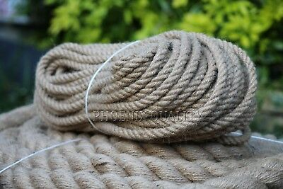 6mm Thick Natural Jute Hessian Rope Cord Twine Braided Twisted Boating Garden • 4.55£