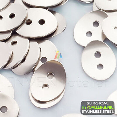 SURGICAL STEEL Oval Button For Leather Wrap Bracelets Clasps 14x11mm / 2mm Hole • 2.48£