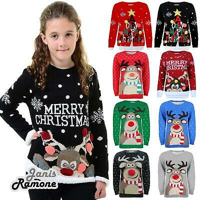 Girls Boys Kids 3D Rudolph Reindeer Merry Christmas Knitted Xmas Jumper Sweater • 10.99£
