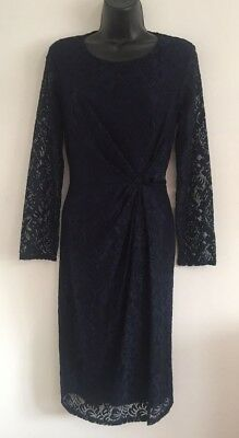 Ex BHS Navy Blue Lace Side Twist Sheer Sleeves Formal Evening Dress Size 8-22 • 7.99£