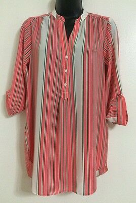 £4.99 • Buy NEW Ex Ladies Coral Multi Striped Collared Button Up Shirt Blouse Top Size 10-18