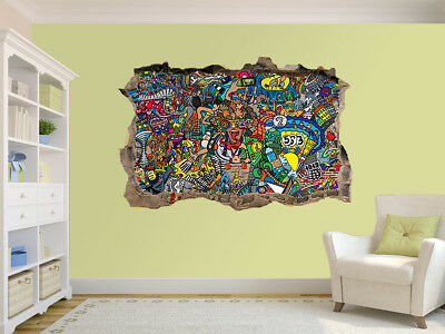 Sports Collage - Graffiti Photo Hole In Wall Sticker Wall Mural (64362878) • 19.99£