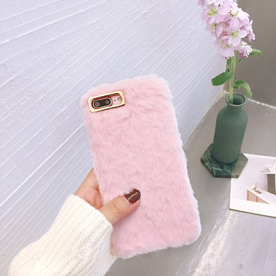 Warm Soft Faux Fur Fluffy Pink Girls Case For IPhone XS Max 6S 5S SE Slim Cover • 5.49£