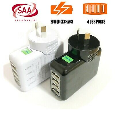 AU24.99 • Buy USB AC Power Adapter Wall Charger 4 Ports Travel Home 5V 4A 20W With AU Plug