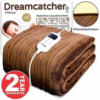 Luxurious Electric Heated Throw Soft Fleece Brown Over Blanket Double Single • 39.99£