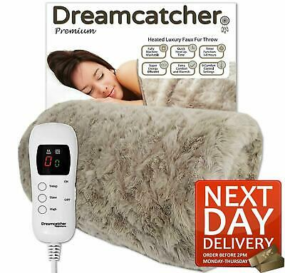 Luxurious Faux Fur Electric Heated Throw Grey Over Blanket Double Single • 59.99£