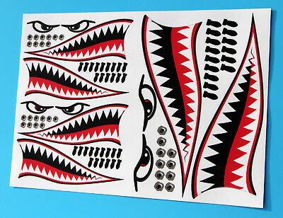 RC CAR FLYING TIGER SHARK TEETH MOUTH Decal Sticker Idear For 1/10 10th Scale • 10.95£
