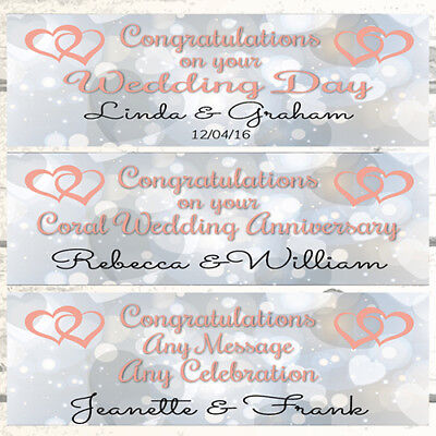 2 Personalised Joined Hearts Wedding Banners, Coral 35th Wedding Anniversary  • 3.99£