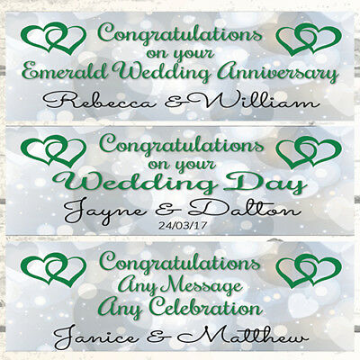 2 Personalised Hearts Joined Wedding Banners, Emerald 55th Wedding Anniversary • 3.99£