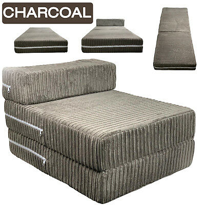 £43.99 • Buy Charcoal Jumbo Cord Single Chair Sofa Z Bed Seat Foam Fold Out Futon Guest