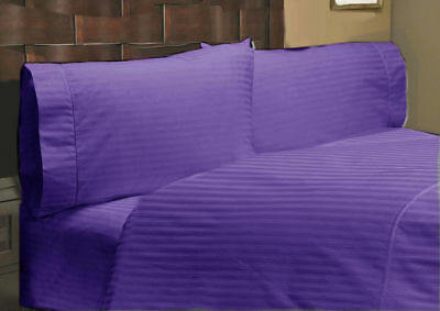 Duvet Cover Set & Fitted Sheet Deep Pkt UK Size Purple Stripe Egyptian Cotton • 96.99£
