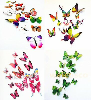 £2.80 • Buy 12pcs 3D Butterfly Wall Decals Stickers Magnet Home Decor DIY Art