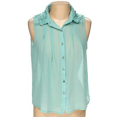 $7.99 • Buy Sans Souci Womens Sleeveless Chiffon Blouse Floral Applique Top Teal Size M