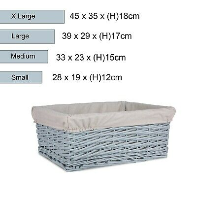 Grey Painted Wicker Storage Basket Shelf Organization Gift Hamper Bathroom • 11.99£