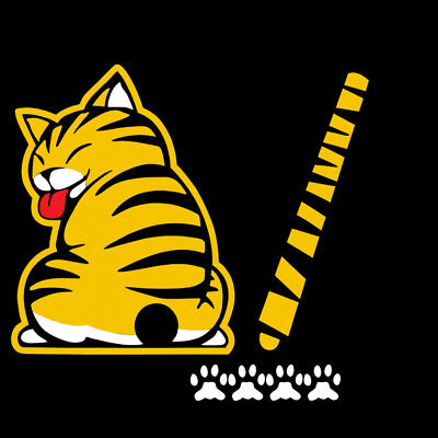 Car Sticker Yellow Cat With Wagging Tail Car Rear Window Windshield Wiper Decal • 2.75£