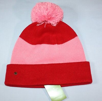 7521df04ac1ea Kate Spade New York Color Block Pom Beanie Women s One Size Pink   Red Hat •