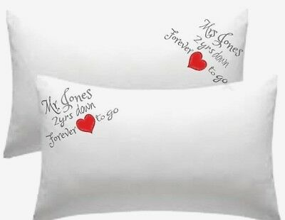 PERSONALISED Cotton Wedding Anniversary Pillow Cases 2 YRS DOWN Etc EMBROIDERED • 19.99£