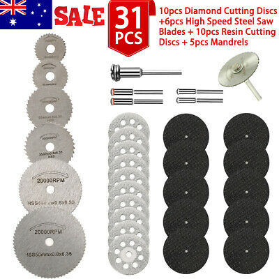 AU11.99 • Buy 31X Mini Diamond Cutting Discs Wheel Blades Set+Drill Bit For Dremel Rotary Tool