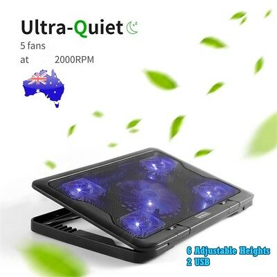 AU22.99 • Buy 5 Fans LED USB Adjustable Height Cooler Cooling Pad Laptop Notebook 7 -17  Stand