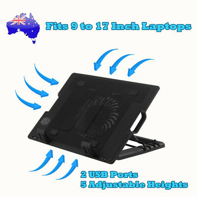 AU16.49 • Buy Notebook Laptop Cooling Pad Cooler Fan Stand W/ USB Hub Adjustable Height 9-17