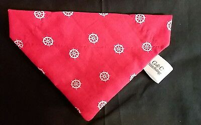 Slide On Dog Bandana Size L  In Red With White Wheels  Polycotton  • 3.50£