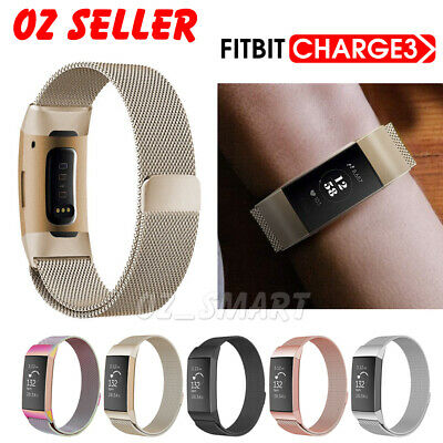 AU11.95 • Buy For Fitbit Charge 3 Band Metal Stainless Steel Milanese Loop Wristband Strap