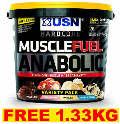 USN Muscle Fuel Anabolic All In One 4kg + 1.33KG FREE VARIETY Weight Gainer Gain • 49.99£