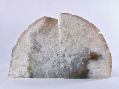 £44.99 • Buy Large Green Polished Cut Base AGATE Geode BOOKEND Pair - Brazil 2.36kg