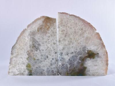 Large Grey/Green Polished Cut Base AGATE Geode BOOKEND Pair - Brazil 2.6kg • 49.99£