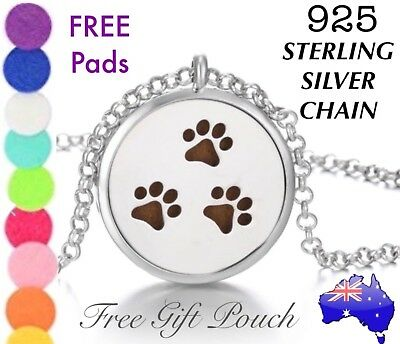AU13.99 • Buy Paw Print Essential Oil Diffuser Locket 925 Sterling Silver Chain Necklace Gift
