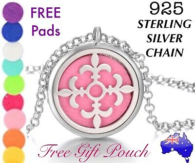 AU11.95 • Buy Cross Essential Oil Diffuser Locket 925 Sterling Silver Chain Necklace Gift New