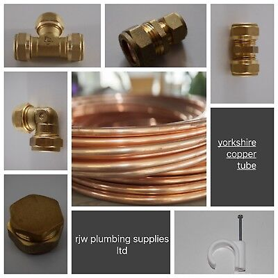 6mm Yorkshire Copper Tube/pipe/brass Compression Fittings/plumbing Joblot   • 2.99£