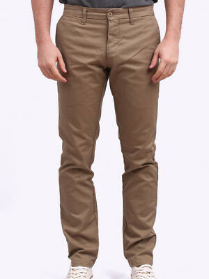 Carhartt Mens LAMAR Sid Pant Chino Trousers In Leather Rinsed • 74.99£
