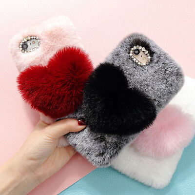 £5.99 • Buy Soft Warm Fluffy Faux Fur Diamond Love Case Cover Comfy Furry For Samsung IPhone