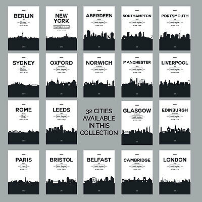 £14.50 • Buy Black & White CITY SKYLINE Poster Art Print Contemporary Minimal Collection
