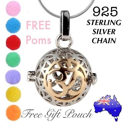 AU12.95 • Buy OM Aroma Essential Oil Diffuser Locket 925 Sterling Silver Chain Necklace Gift