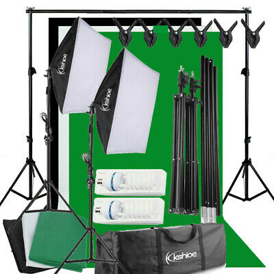 135W Photo Video Backdrop Black White Green Screen SOFTBOX+ Background Stand Kit • 52.95£