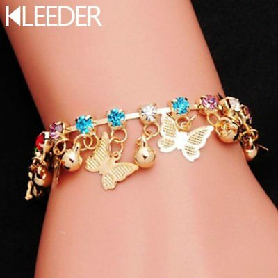 Cute Children Beautiful Butterfly Charm Bracelet For Girls Kids Hand Chain Gold  • 2.99£