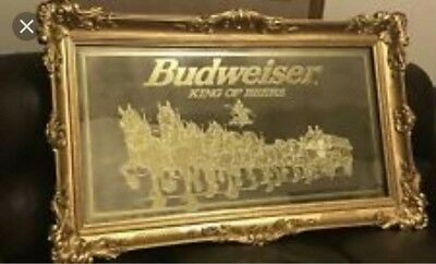 $ CDN1716.16 • Buy Vintage Budweiser Collectibles Large Bar Mirror With Clydesdale Horses