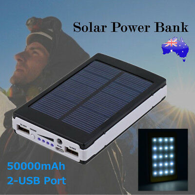 AU24.83 • Buy 50000mAh Solar Panel External Battery Dual USB Charger Power Bank Pack Charger